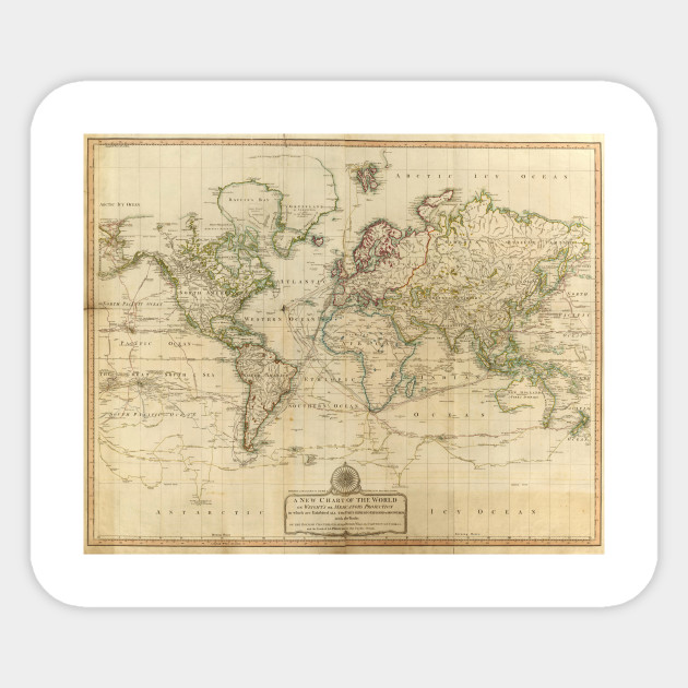 Vintage Map Of The World 1800 World Map Sticker Teepublic