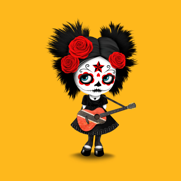 Sugar Skull Girl Playing Trinidadian Flag Guitar