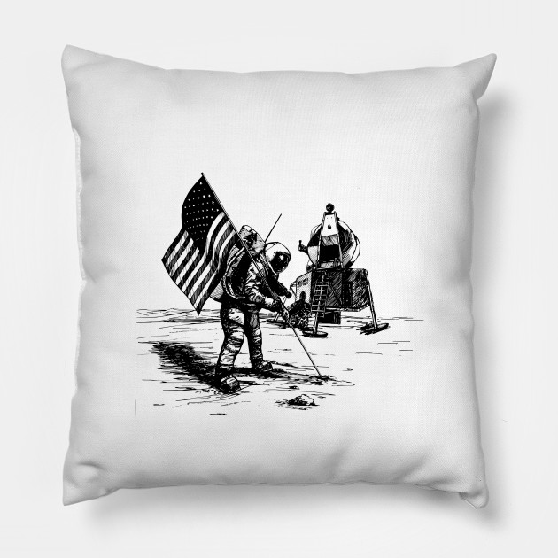 USA flag on the moon - space