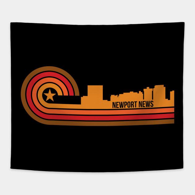 Retro Style Newport News Virginia Skyline Newport News Tapestry
