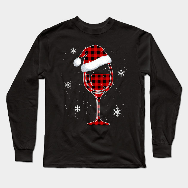 Red plaid Buffalo Christmas Wine With Santa Hat Matching Long Sleeve TShirt Long Sleeve T-Shirt