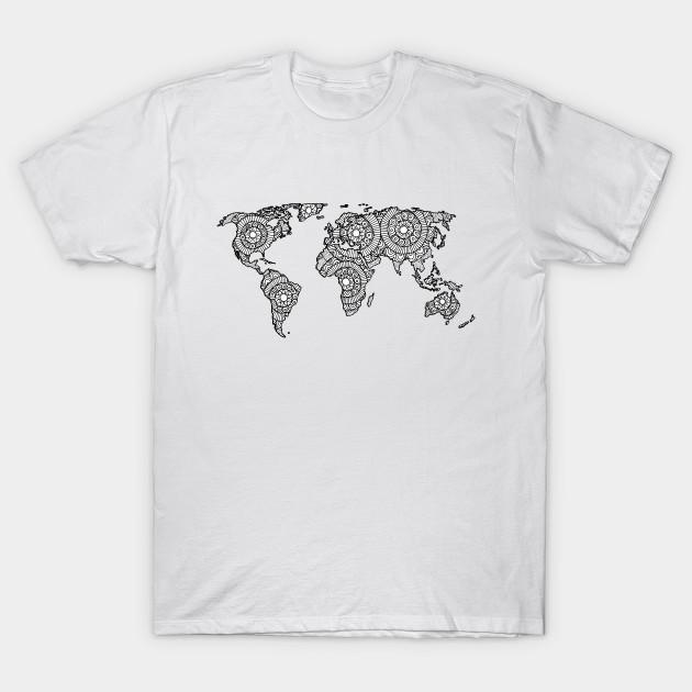 Mandala World Map World Map T Shirt Teepublic