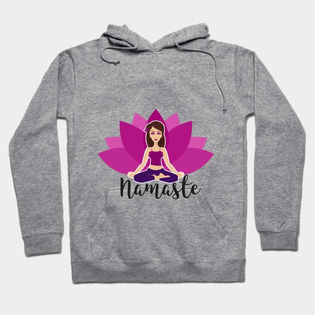 Pink Lotus And Yoga Girl In Padmasana Yoga Hoodie Teepublic Au