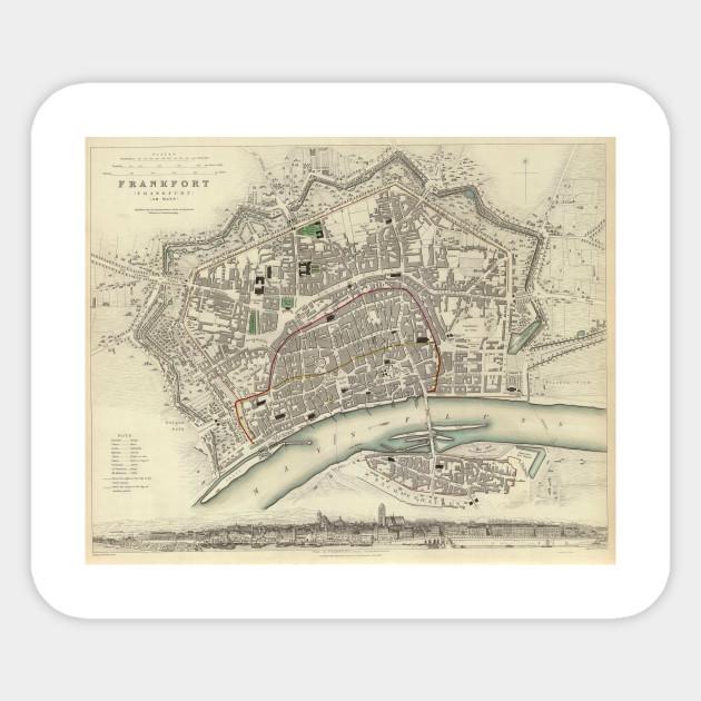 Vintage Map of Frankfurt Germany (1837) - Frankfurt Map - Sticker ...