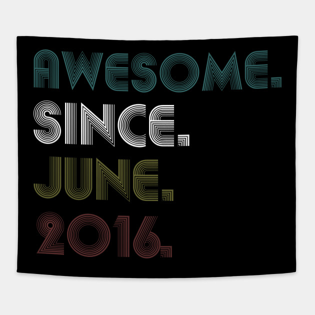 June Awesome Since 2016 Shirt 3rd Birthday Gift 3 Years Old