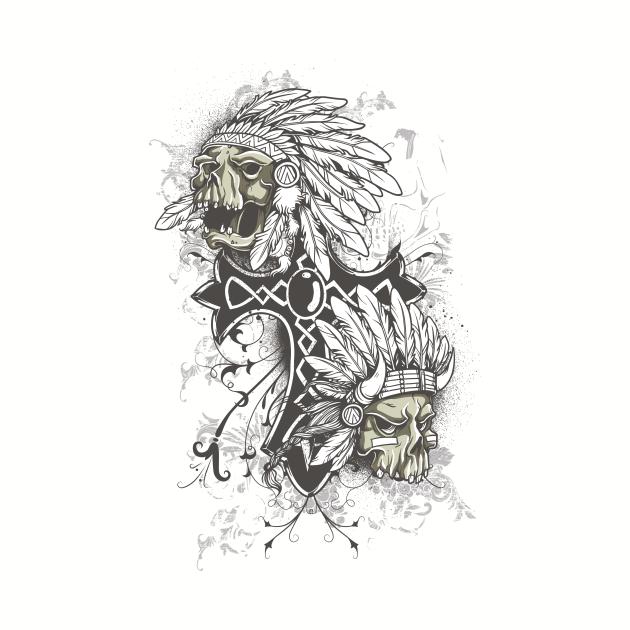 Indian Skull Black Cross Sioux