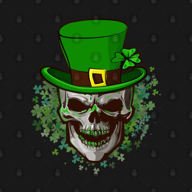 Skull St Patricks Day Clover Shamrocks Cool Irish Leprechaun