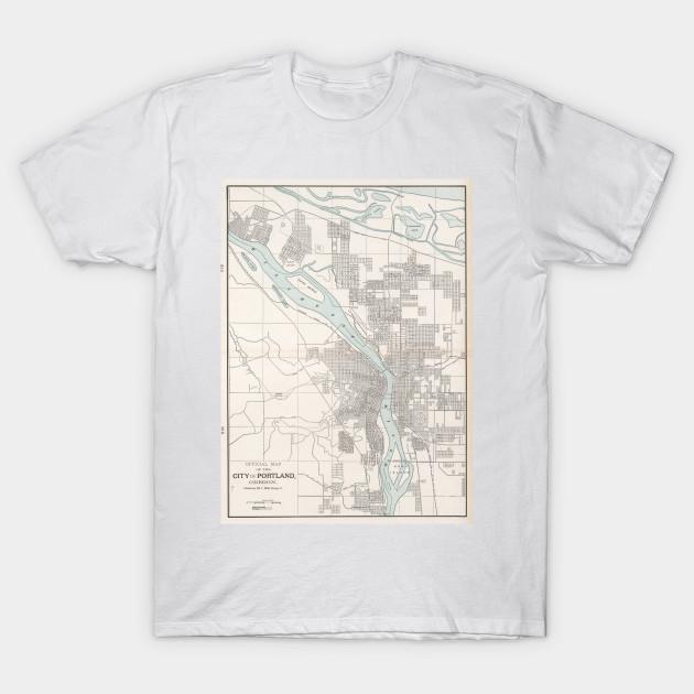 Vintage Map of Portland Oregon (1901) - Portland Map - T-Shirt ...