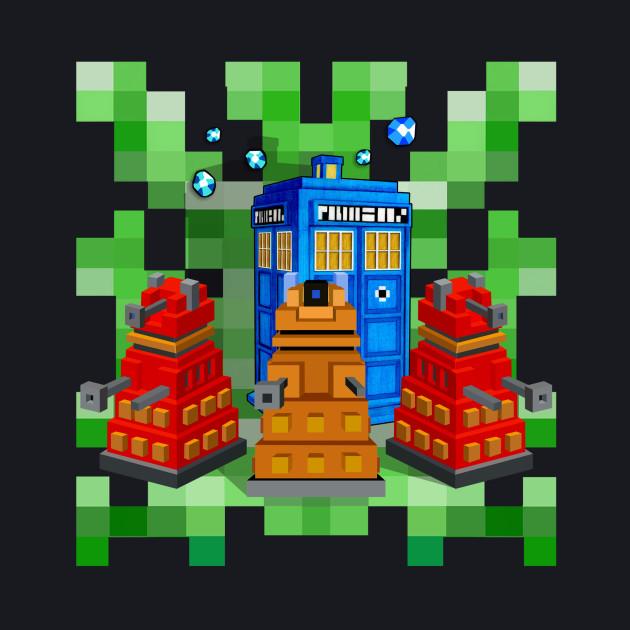 8bit Robot Droid Dalek With Blue Phone box