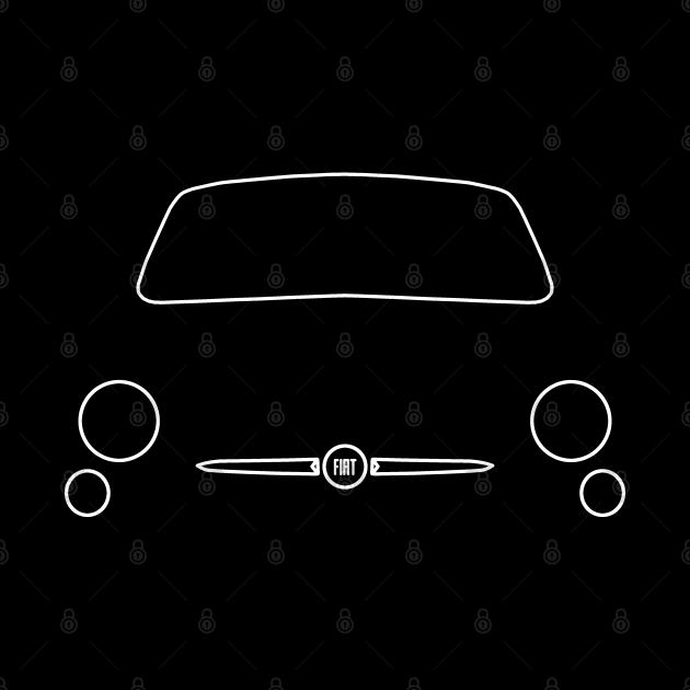 Fiat 500 outline graphic (white)
