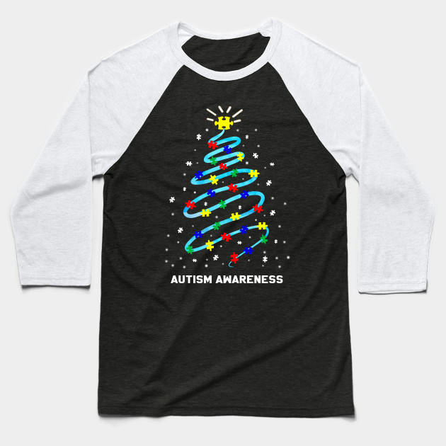 Christmas Autism Awareness Christmas tree Baseball T-Shirt