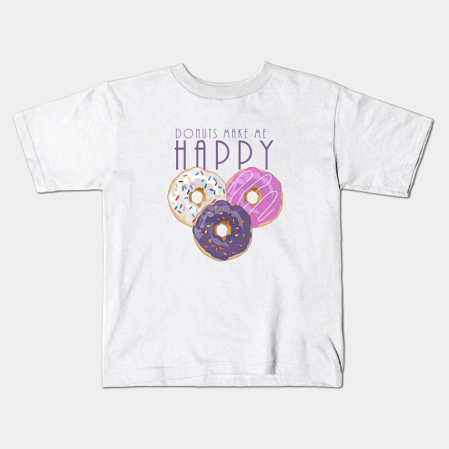 Purple graphic donut T-shirt with sprinkles designs on the donuts.