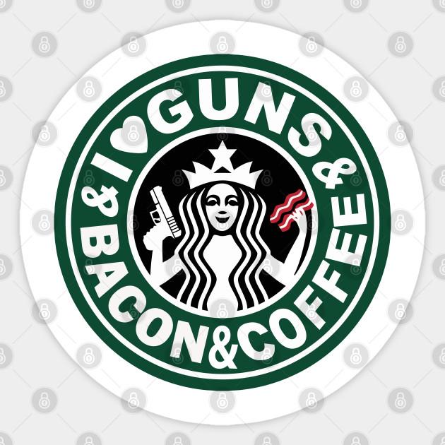 Sticker I Love Guns and Bacon