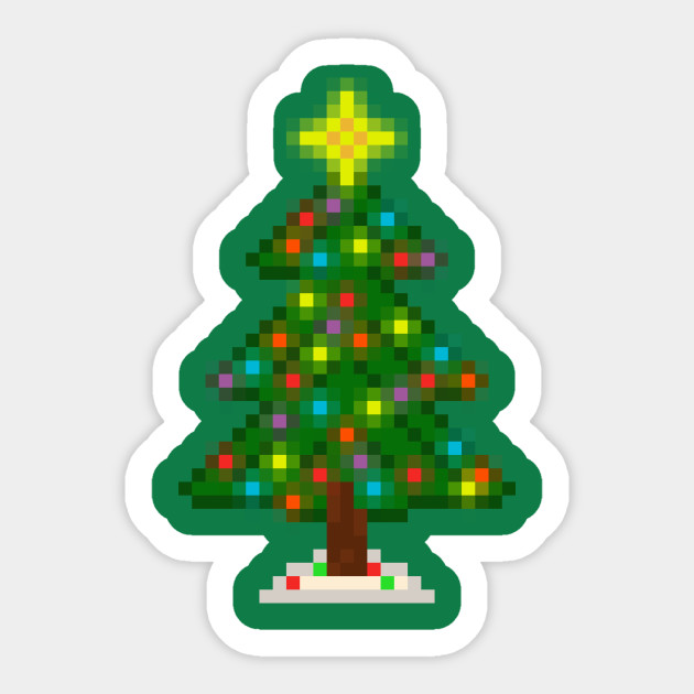 Pixel Christmas Tree with Glowing Lights (Green) Sticker