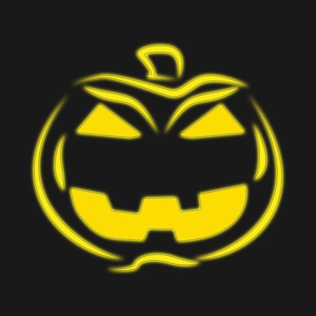 Yellow Glow Halloween Pumpkin Jack-o-Lantern Face