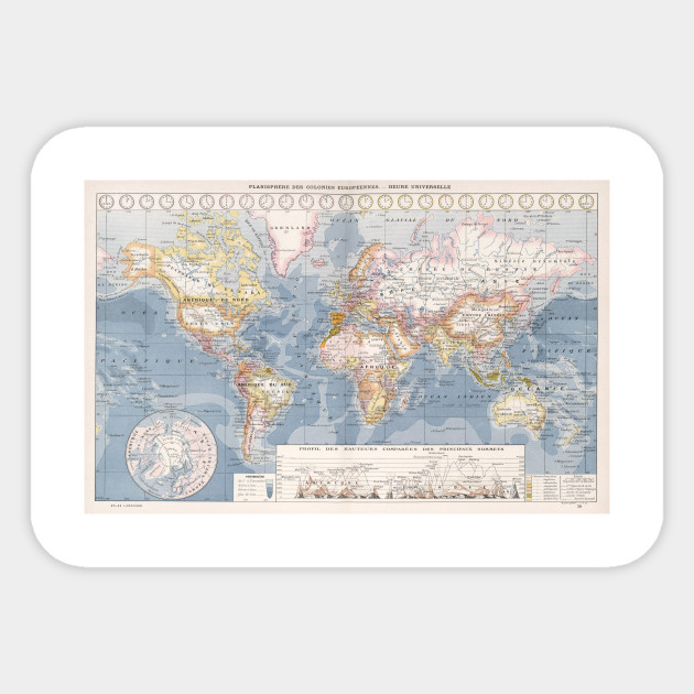 Vintage Map of The World (1900) - World Map - Sticker | TeePublic