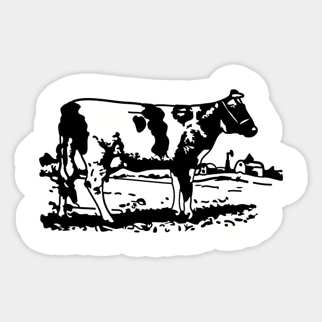 Cow Drawing Black And White Cow Sticker Teepublic