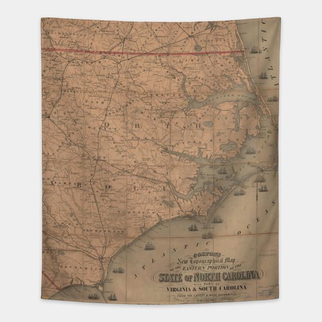 Vintage Map of Eastern North Carolina (1862) 2 - North Carolina Map ...