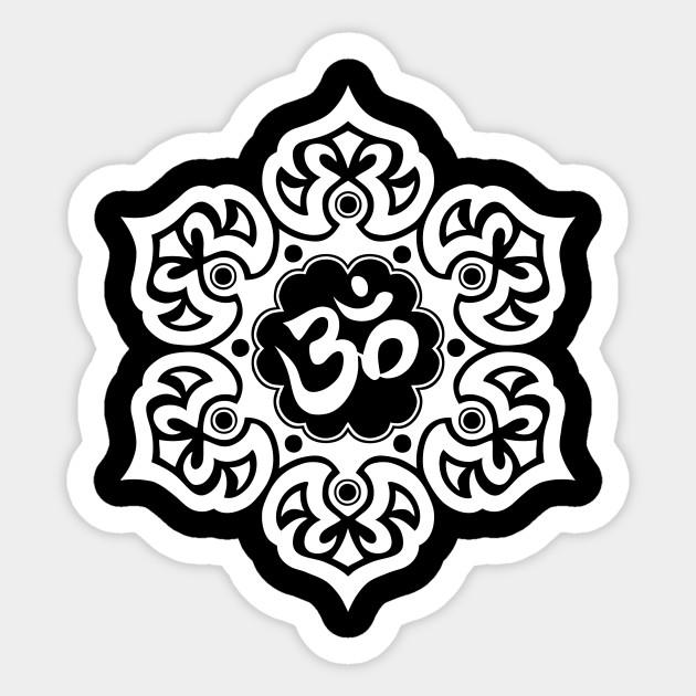 White Lotus Flower Yoga Om Om Sticker Teepublic