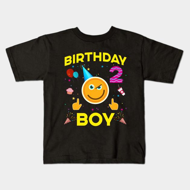 Kids Emoji 2nd Birthday Boy T Shirt Fun 2 Years Old Gift