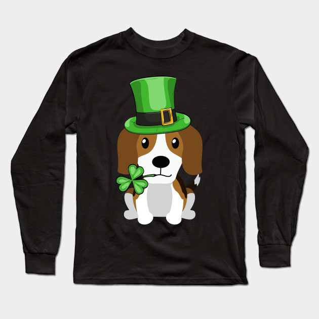 3d61870f Cute Beagle St. Patrick's Day Dog Lovers Owners Gift Long Sleeve T-Shirt