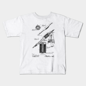 51b5e598 Electric Perforating Pen Vintage Patent Hand Drawing Kids T-Shirt