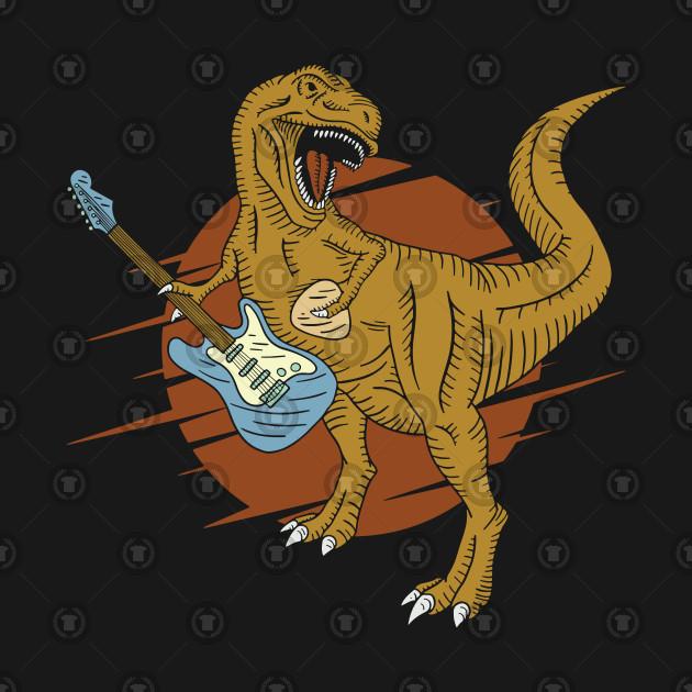 T-Rex on Guitars Humorous Dinosaur Design