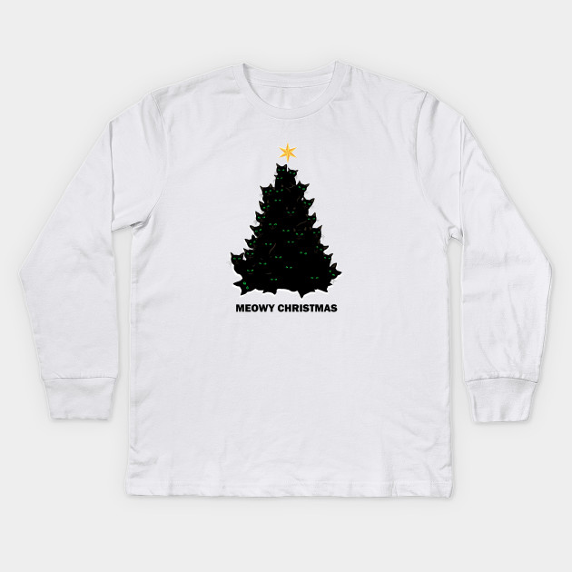 78b7fe4d1 Merry Meowy Christmas Cat Tree Xmas Black Cats Kids Long Sleeve T-Shirt