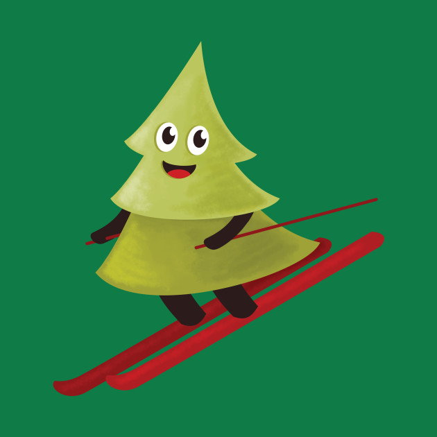 Cute Skiing Pine Tree