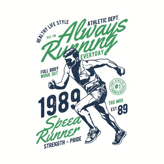 Vintage Always Running Shirt Gift Retro Runner
