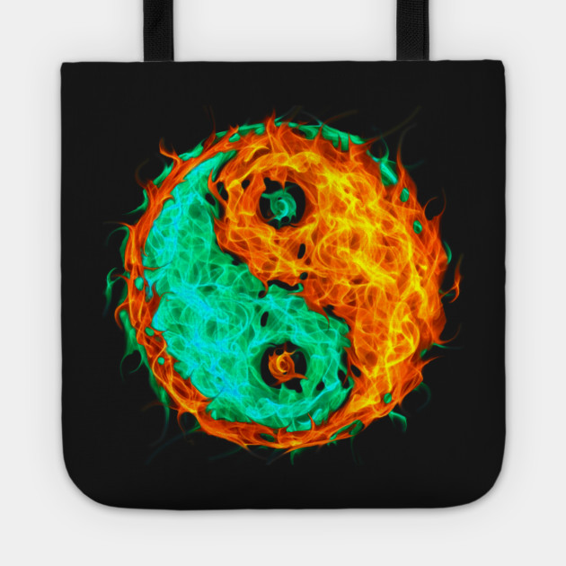 Yin Yang Fire And Ice Yin Yang Tote Teepublic
