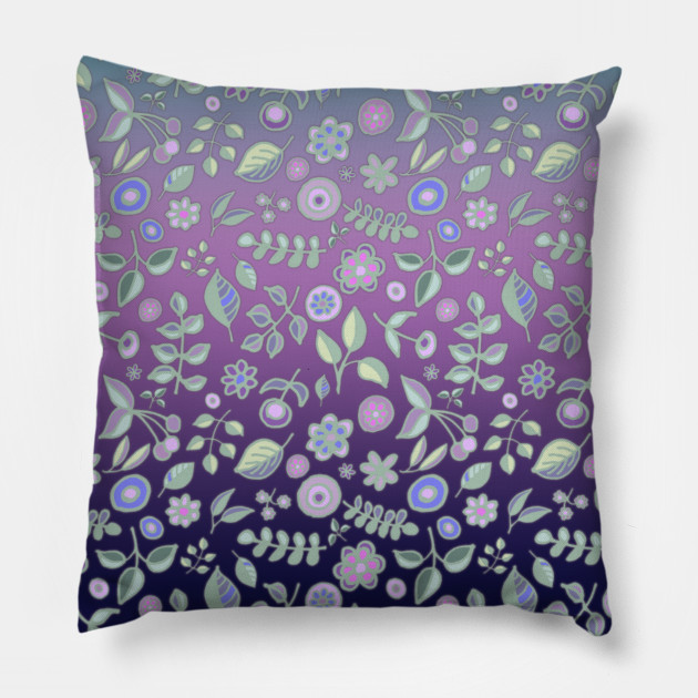 Ombre Nature Doodle Pattern in Navy & Purple