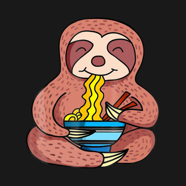 5c4f3b6a Funny Sloth Eating Ramen T Shirt For Men Women Kids - Sloth - T ...