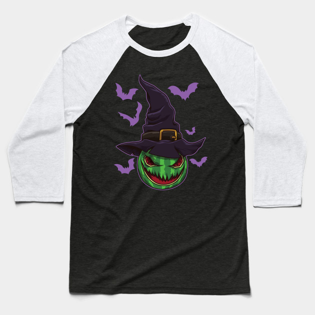 Halloween Watermelon Witch - Halloween Party Baseball T-Shirt