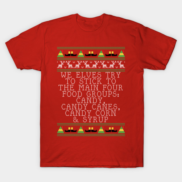 Candy Food Groups Elf Quote Christmas Knit