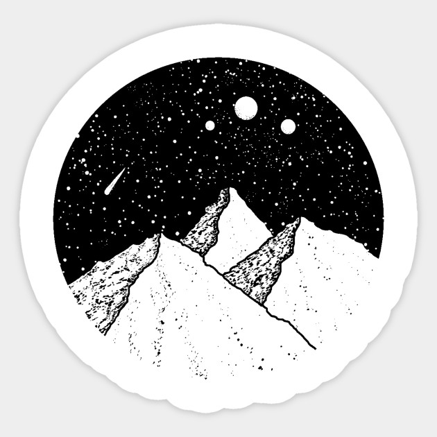 Mountains and the Night Sky with the Moon and Stars