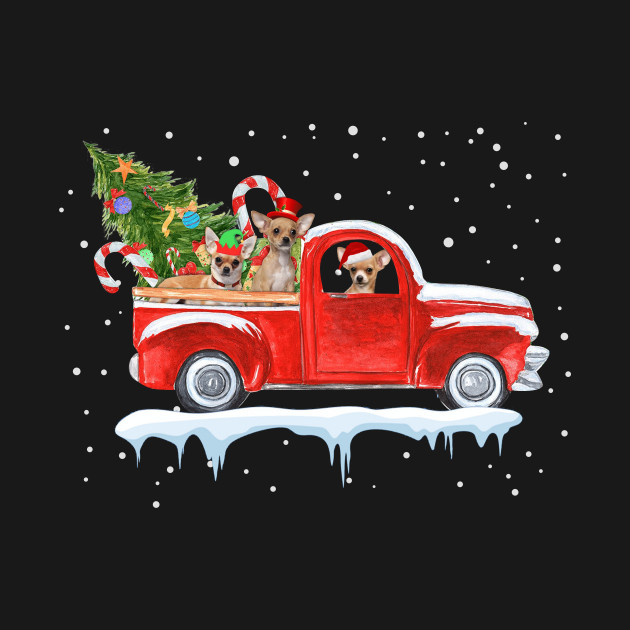 Chihuahua Dog Pickup Truck Christmas Tshirt For Men Women