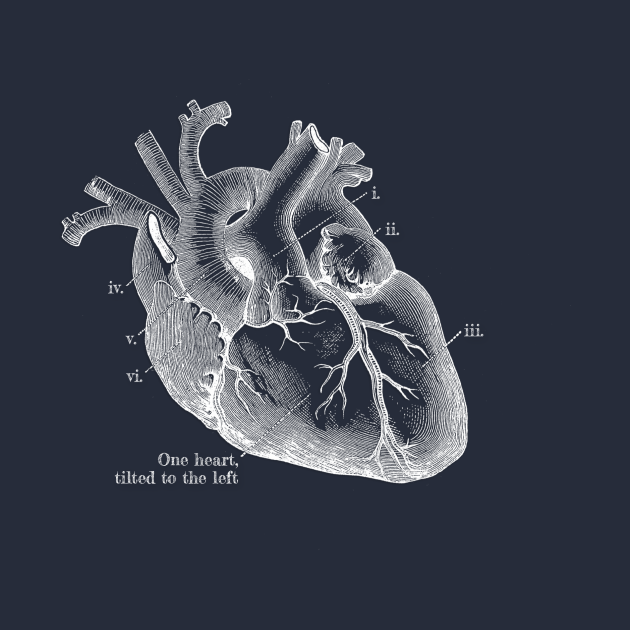 One heart, tilted to the left