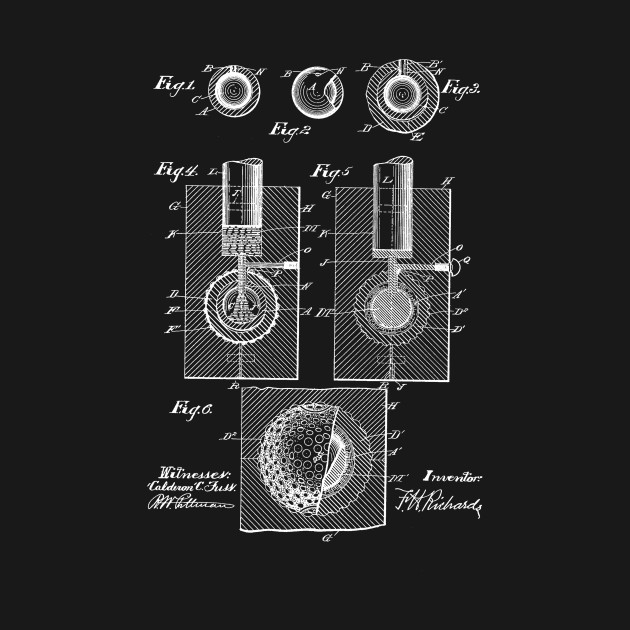 Golf Ball Vintage Patent Hand Drawing