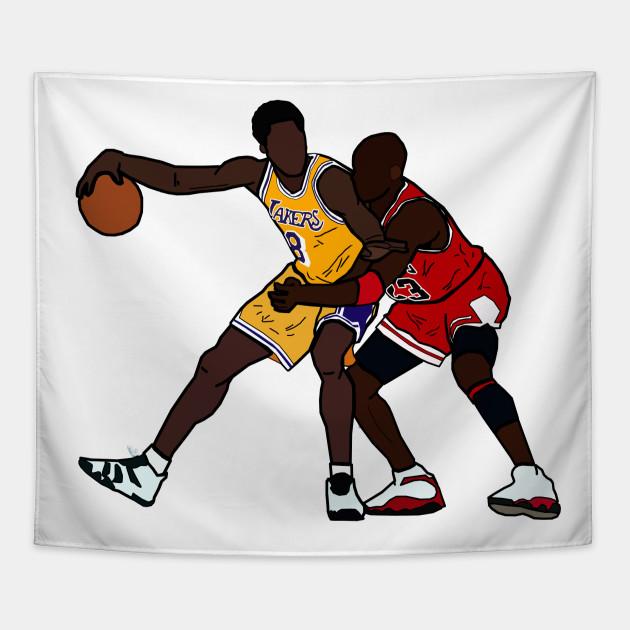 5744d21ba7d9 Kobe Bryant VS Michael Jordan GOAT - Los Angeles Lakers Chicago Bulls  Tapestry