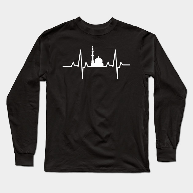 1e4d835f6ccc Muslim Heartbeat Tee Islamic Mosque Muslim Heartbeat Design Long Sleeve T- Shirt