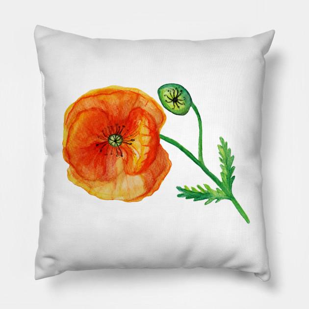 Poppy Flower In Red Poppy Flower Drawing Pillow Teepublic