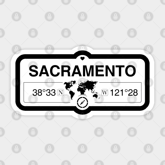 sacramento california map gps coordinates artwork with compass sacramento california sticker teepublic au teepublic