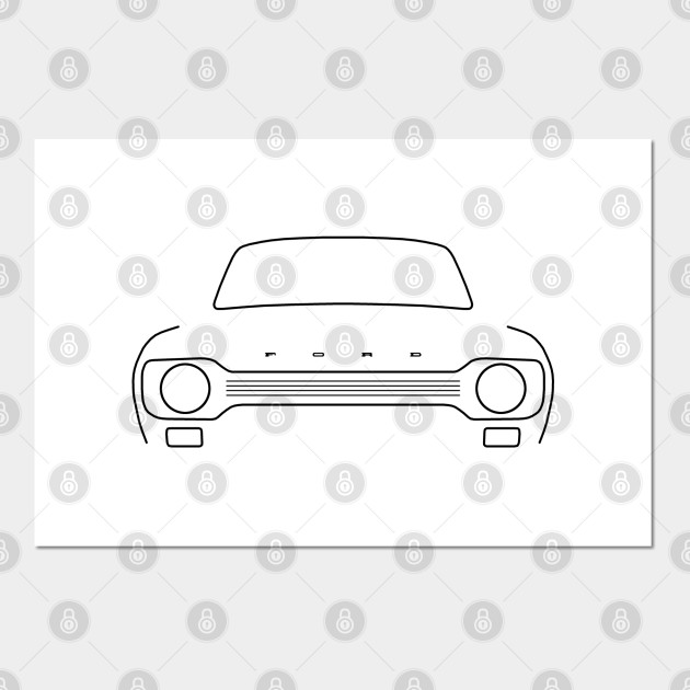 Ford Escort Mk1 Classic Car Outline Graphic Black Ford Posters And Art Prints Teepublic
