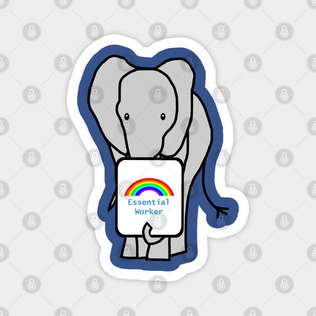 Elephant with Essential Worker Rainbow