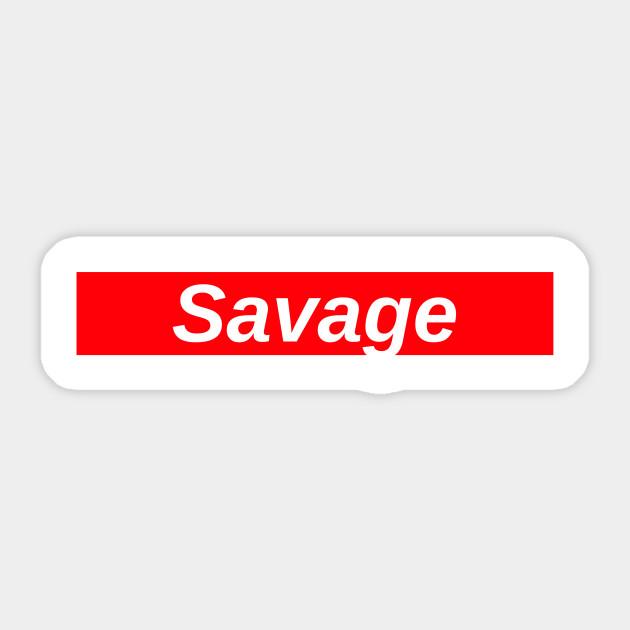 savage red box logo 21 savage sticker teepublic uk teepublic