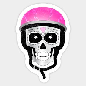 day of the dead skull stickers teepublic