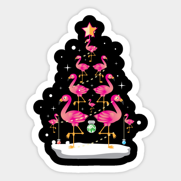 promo code 086f2 b0dfe Flamingo Christmas Tree Shirt Ornament Decor Gift Tee