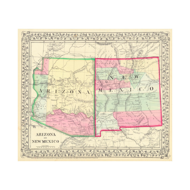 Vintage Map of Arizona and New Mexico (1867) - Arizona And New ...