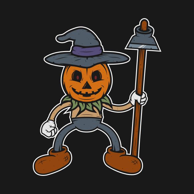 Retro 1930s Halloween Scarecrow Cartoon